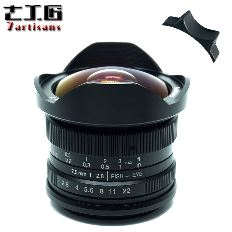 Camera Lens 7artisans 7.5mm F2.8 Fisheye Lens 180 APS-C Manual Fixed Lens for E Mount Canon EOS-M Mount Fuji FX Mount for Sony объектив lensbaby circular fisheye for fuji x 83053 lbcfef