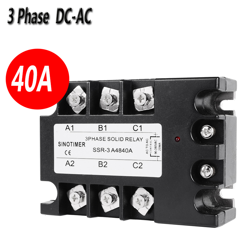 SSR Rele D4840A 3 Phase Solid State Relay 40A DC-AC 30-480V AC Output Module Switch Relay relais 3 phase solid state relay 60da ac output 3 32v dc to 30 480v ac 60a module switch relay relais dc ac d4860a