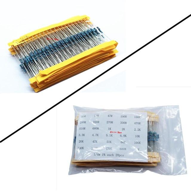 500 X 1//4W Metal Film Resistor Assort kit 25 kinds values 1/% New