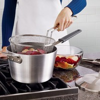 9 Medium Stainless Steel Deep Fry Basket Round Mesh French Chip Frying Serving Food Presentation Basket