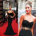 Simple And Elegant Black Mermaid Prom Party Dresses Sweetheart Sleeveless Natural Waist With Golden Sash Sexy Celebrity Dress
