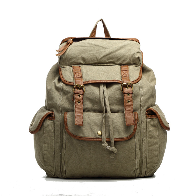 ФОТО Pure cotton canvas backpack neutral leisure travel backpack pu shoulder strap multi - pocket bag