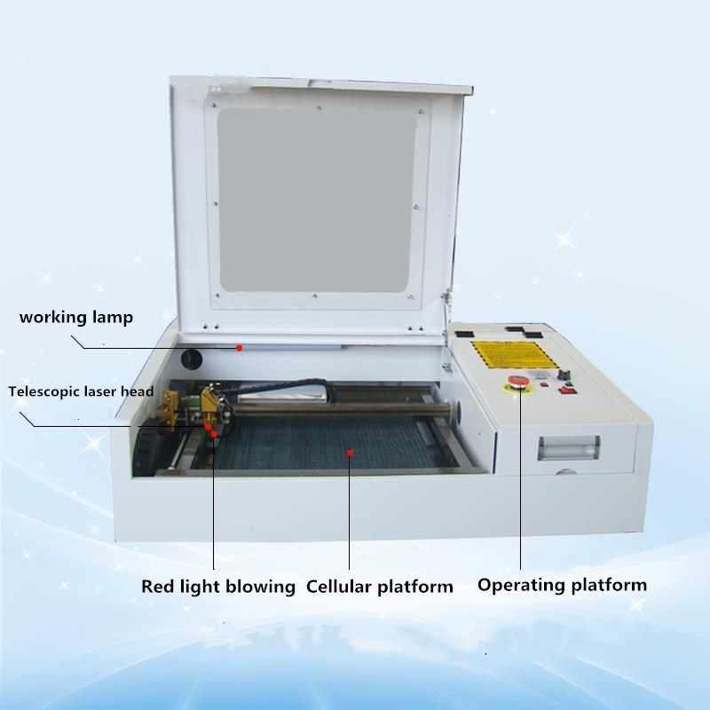 50 W CO2 לייזר חרט מכונה 4040 לייזר קאטר מכונת 40*40 CM עבודה פורמט לייזר סימון מכונה diycnc חריטת מכונת