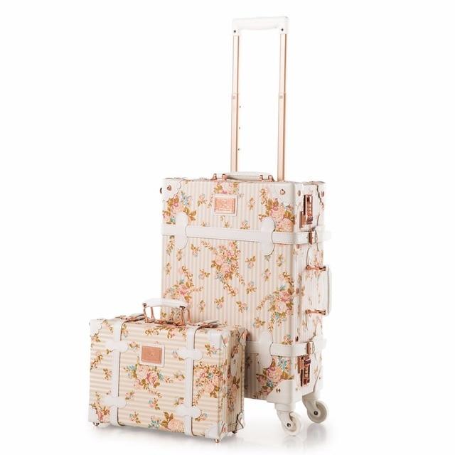 20 22 24 дюймов Spinner колеса Цветочный Pu кожаный чемодан женщины Vintage камера устанавливает прокатки багаж с 13 дюймов Косметические мешок
