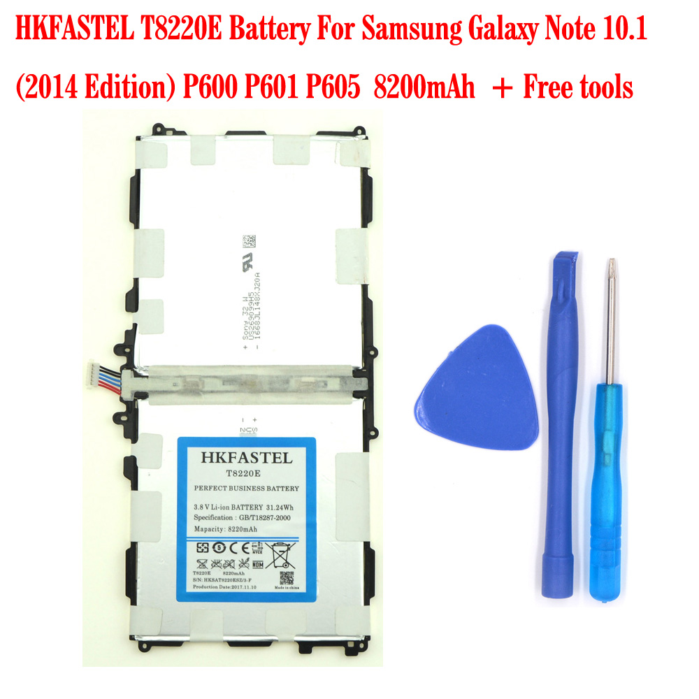 HKFASTEL New T8220E <font><b>Battery</b></font> For <font><b>Samsung</b></font> Galaxy <font><b>Note</b></font> <font><b>10.1</b></font> (<font><b>2014</b></font> <font><b>Edition</b></font>) P600 P601 P605 8200mAh Free tools image
