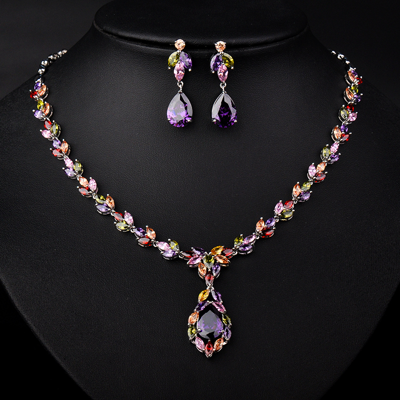 YAN MEI 3 Colors Mona Lisa Marquise & Oval Stone Cubic Zirconia Necklace and Earrings Wedding Jewelry Set GLN0127YAN MEI 3 Colors Mona Lisa Marquise & Oval Stone Cubic Zirconia Necklace and Earrings Wedding Jewelry Set GLN0127