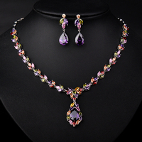 Hot Fashion Gold Plated Mona Lisa Marquise Oval Stone Cubic Zirconia Diamond Necklace And Earrings Wedding