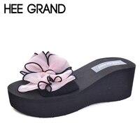 HEE GRAN Flores de Diapositivas 2017 Resbalón En Cuñas Playa de Verano Casual Zapatos de Mujer de Moda Enredaderas Zapatillas de 4 Colores Más El Tamaño XWT569