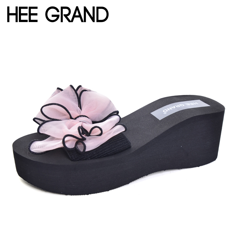 HEE GRAND Flowers Slides 2017 Slip On Wedges Beach Summer Casual Shoes Woman Fashion Creepers Slippers 4 Colors Plus Size XWT569 hee grand 2017 creepers summer platform gladiator sandals casual shoes woman slip on flats fashion silver women shoes xwz4074