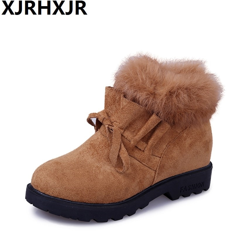 2017 New Fashion Women Flat Heel Ankle Boots Rabbit Fur Platform Snow Boots Lace Up Winter Warm Shoes Yellow Black Size 35-39