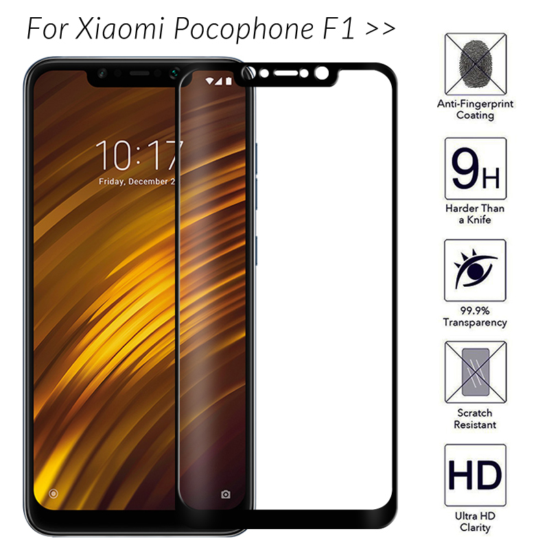 Tempered Glass For Xiaomi Pocophone F1 Screen Protector On Xiomi Pocophone F1 Poko F 1 1F Poco Protective Glass Full Cover Film