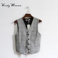 2018 New Brand Suit Vest Men Jacket Sleeveless Gray Vintage Tweed Vest Fashion Spring Autumn Plus Size Waistcoat
