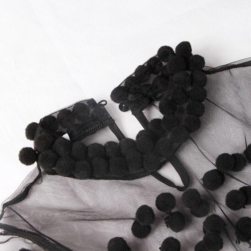 Twotwinstyle O Chaussures Les Cheveux Pour Patchwork Robe Ampoule Manches 2019 Femmes De Black Femelle Cou Fête white Perspective Courtes D'entraînement Lourd Printemps rBvwqZr