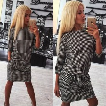 2017 autumn and winter women 's new three – quarter sleeve fashion plaid dress
