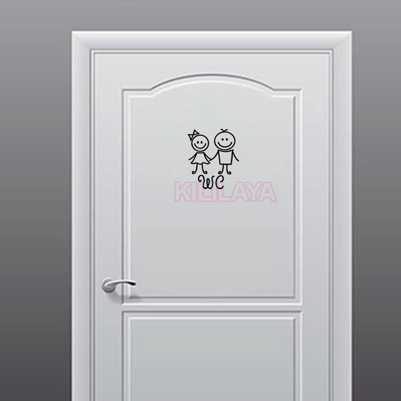 Humanoide Muñeca Pegatina Puerta del Baño WC Signo Tatuajes de Pared Arte vinilo