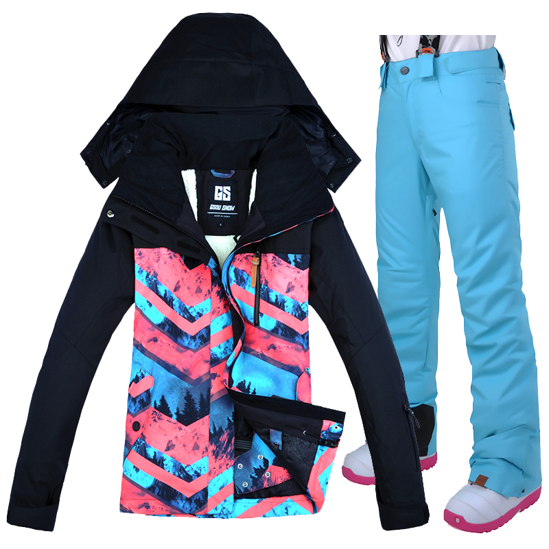 Gsou neige russie-30 degrés hiver neige Ski costumes femmes veste de Ski respirant Snowboard veste Ski pantalon ensembles