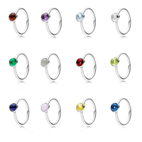 Authentic 925 Sterling Silver Birthstone Droplet Ring Water Drop Clear Austrian Crystal Rings Compatible Europe Brand