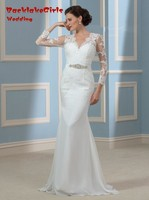 Elegant Sheer Style Dresses With Long Sleeves Beautiful Beads Lace Bridal Gown Brautkleid New Arrival Wedding