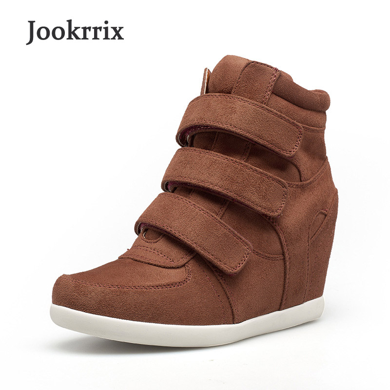 Jookrrix 2018 Spring New Fashion Brand Lady Casual Vulcanized Shoes Women Increase Shoe Girl Sneaker High Top Black Good Quality