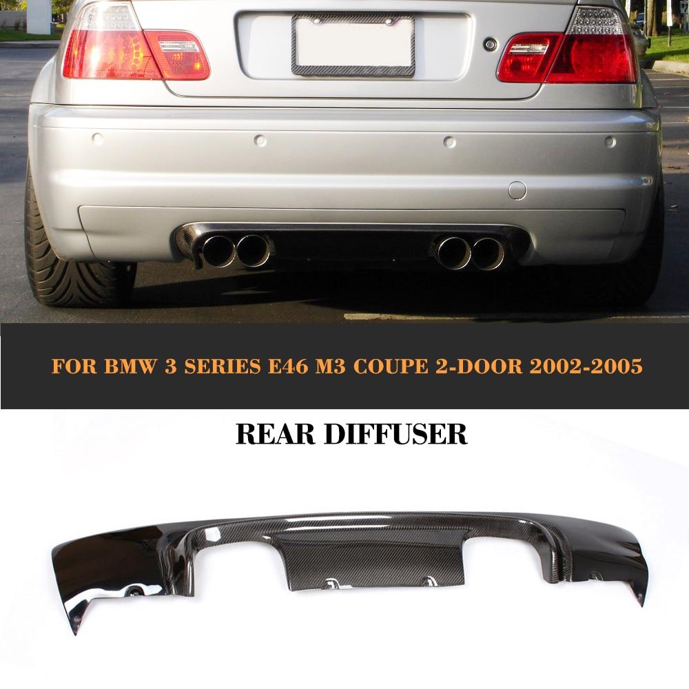 Carbon Fiber Car Rear Bumper lip Spoiler Diffuser for BMW 3 Series E46 M3 Coupe 2 Door 2002 2005