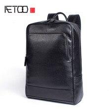 AETOO, повседневный деловой кожаный рюкзак, большая вместительность, мужской и женский кожаный рюкзак для компьютера, Студенческая сумка