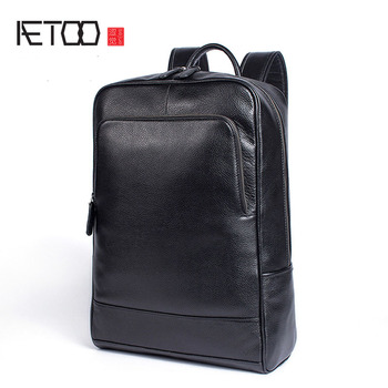 AETOO Casual business leather backpack wear large capacity men and women leather computer backpack student bag hd19368 restoring ancient belt decoration many pockets leather bag women large capacity leather backpack