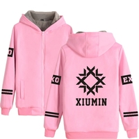 Kpop EXO Sweatshirt in Gray Pink Winter Warm Thick Cotton Hoodies Women Zipper Korea Fashion Style Hoodie Women EXO L clothes
