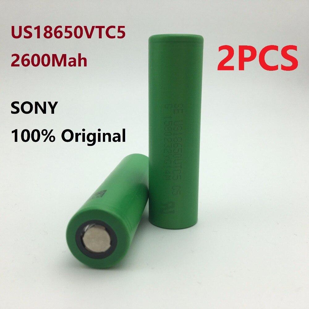 2PCS 100% ORIGINAL 3.7V 2600mAh rechargeable Li-ion battery 18650 Akku for Sony US18650VTC5 VTC5 30A Toys flashlight tools