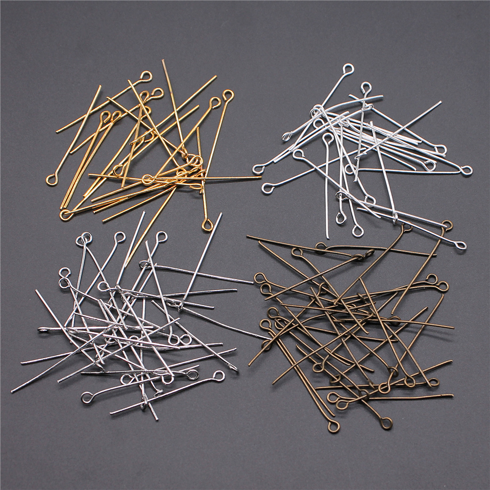 200pcs Eye Head Pins 18~35mm Eye Pins Bead Pins Jewelry Findings & Components For DIY Jewelry Making
