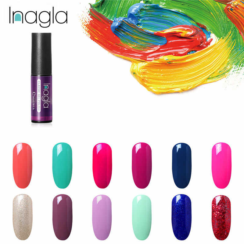 Inagla Classic Pure Color Gel French White Black Nail Polish Nail Art Design 60 Colors Enamel Gel Polish LED UV Gel Varnish
