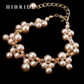 HIBRIDE JEWELRY Brand New Fashion Simulated Pearl Bridal Bracelets,Real Gold Plated Chain Bangles For Women Gifts, B-35