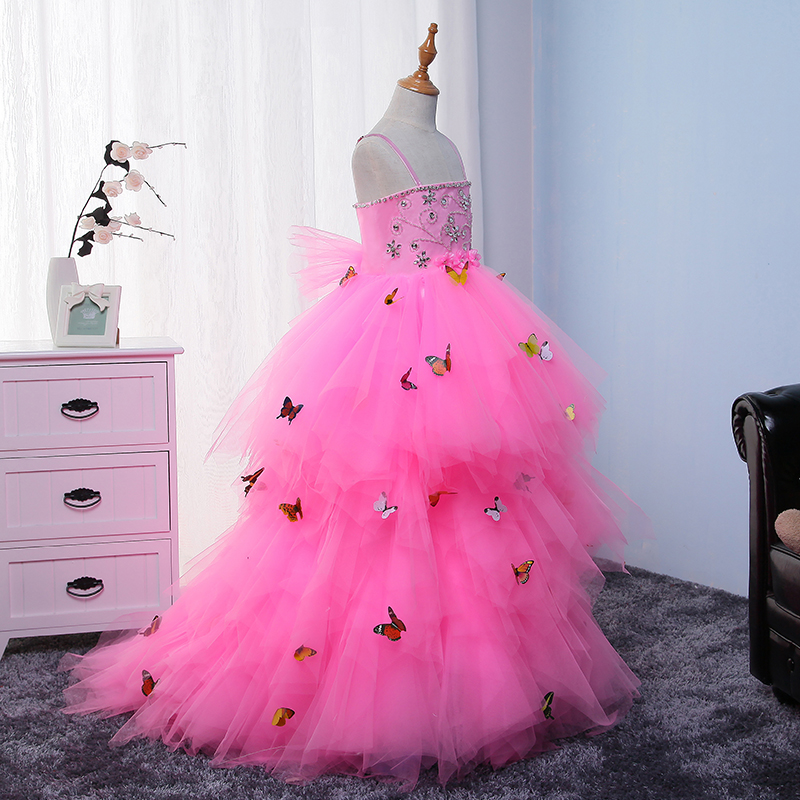 Butterfly Princess Dress Appliques Flower Girls Dress Wedding Party Dresses Long Ball Gown Baby Girl Toddler Pageant Gowns A35 2017 flower girls dress for wedding bow tie champagne dress kids pageant gowns princess party dresses baby girl clothes toddler page 3 page 1