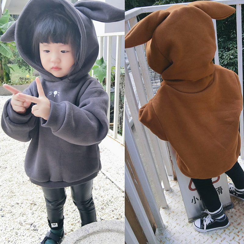 2017 Winter Sweatshirts for Girls Children's 100% Cotton Casual Rabbit Ears Hooded Solid Thicken Kids Hoodie Regular Full Sleeve 3d dollars pattern hooded long sleeve fitted trendy cotton blend hoodie for men