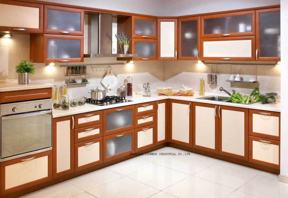 classical kitchen cabinet solid wood door(LH-SW077)