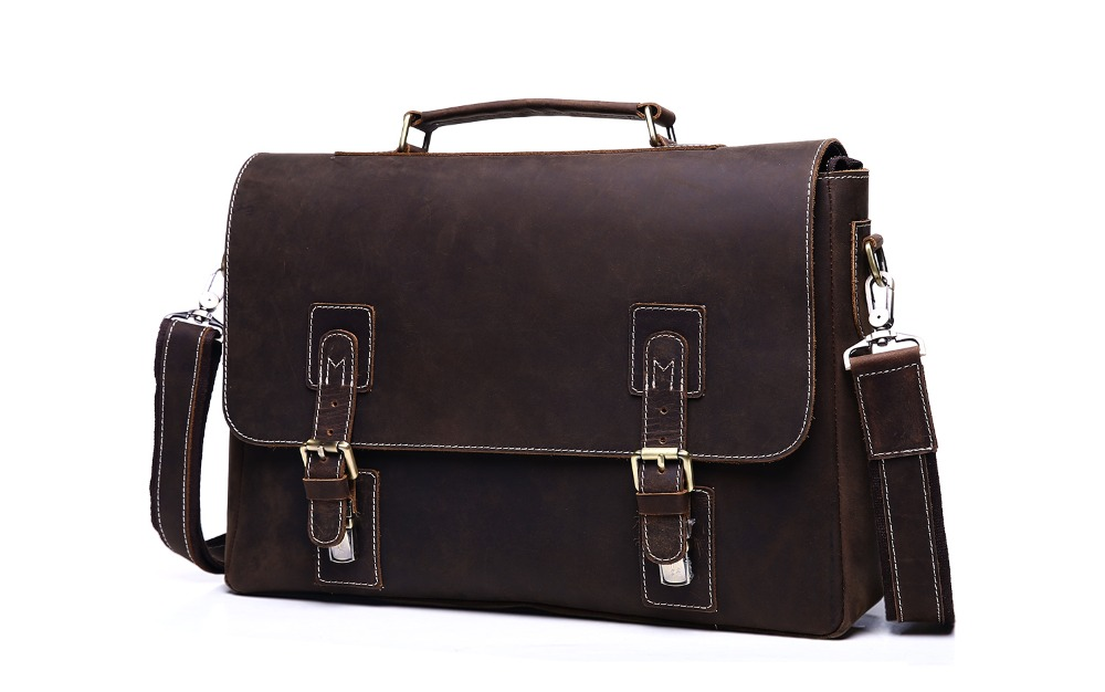 Nesitu Vintage 100% Guarantee Genuine Leather Crazy Horse Leather Men Messenger Bags Man ...