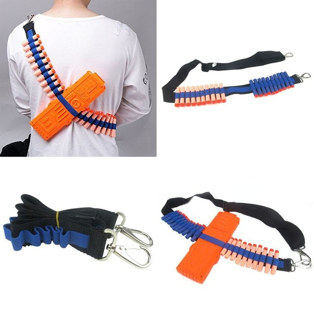 Toy Gun Airsoft Pistol Soft Bullets Belt Shoulder Strap Clip Charger Darts  Ammo Storage For Nerf