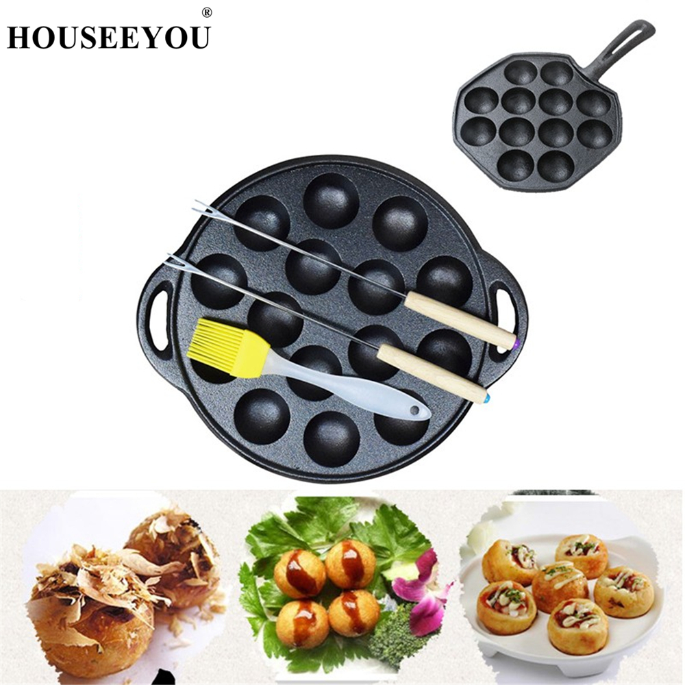 Non Stick Takoyaki Maker Cast Iron Baking Pan Cake Octopus Ball Frying Pan Barbecue Plate For Gas Stove Induction Cooker
