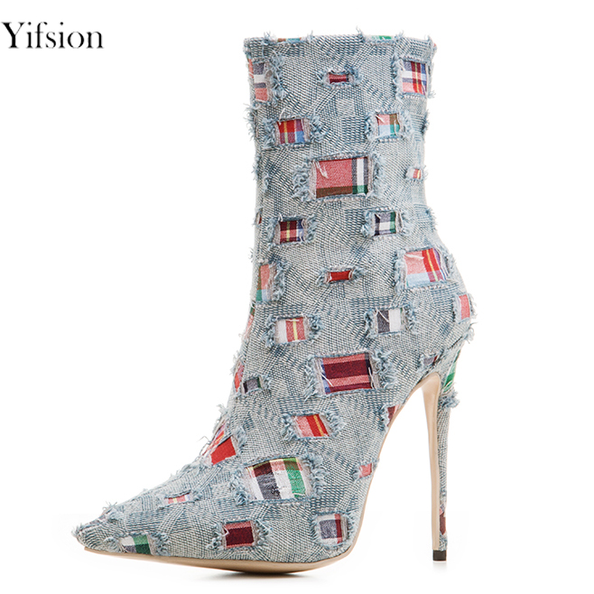 Yifsion New Fashion Women Ankle Boots Thin High Heels Boots Nice Pointed Toe Light Brown Light Blue Shoes Women US Size 3-10.5Yifsion New Fashion Women Ankle Boots Thin High Heels Boots Nice Pointed Toe Light Brown Light Blue Shoes Women US Size 3-10.5