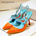 Pointed Toe Mary Janes Pumps 2017 Autumn Fashion Patent Leather Thin Heels Women Shoe Green Orange Cheap High Quality Brand
