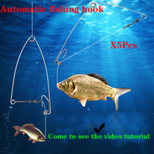 5Pcs/lot Automatic Fishing Spring Hook Stainless Steel Lazy Artifact Universal Full Speed All The Water Supplies 2019new