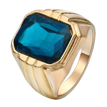 цены cheap anti-gold ring jewelry for men large dark blue crystal setting vintage size 6-10 gold plated wedding band for women