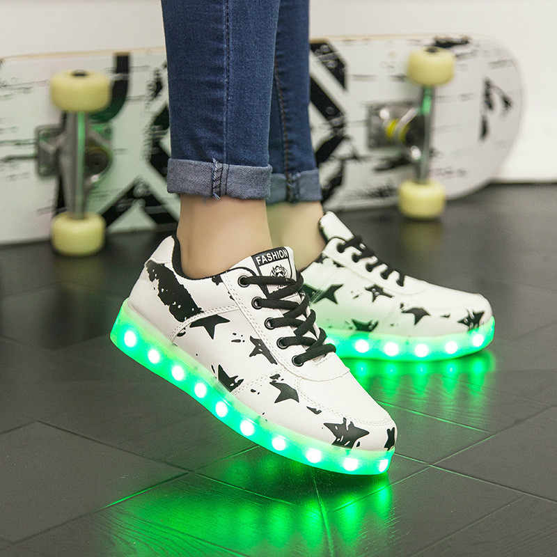 Children LED lights Casual Shoes Kid Sneakers Luminous Lighted Colorful Flat Adults Men Women USB Charge Boys Girl Glowing Shoes
