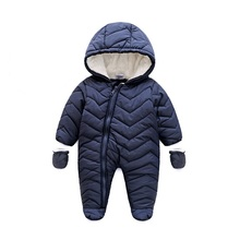 2017 baby winter clothes cotton thick warm Hooded baby jumpsuits newbornbebes boy girl romper children snowsuit down clothing
