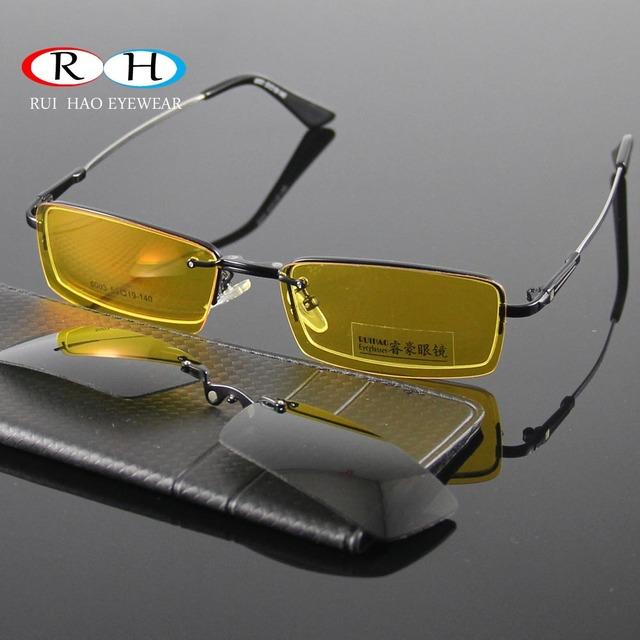Gafas Mujeres Marcos de Anteojos Hombres Marco Eyewear 2 UNIDS Magnética Clip Gafas de Sol Polarizadas Gafas de Visión Nocturna Amarillo Gafas