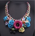 European color flower   Pendant Necklace short rope knitting accessories wholesale big exaggerated female clavicle