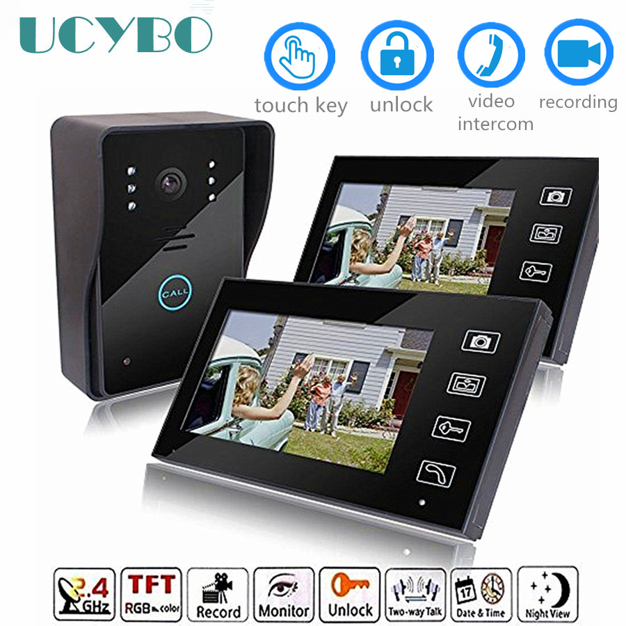 "7"" Video Door Phone Intercom System Wireless Wifi Video Doorbell 2 Monitor Door Camera Infared Ir Home Apartment Video Doorphone"