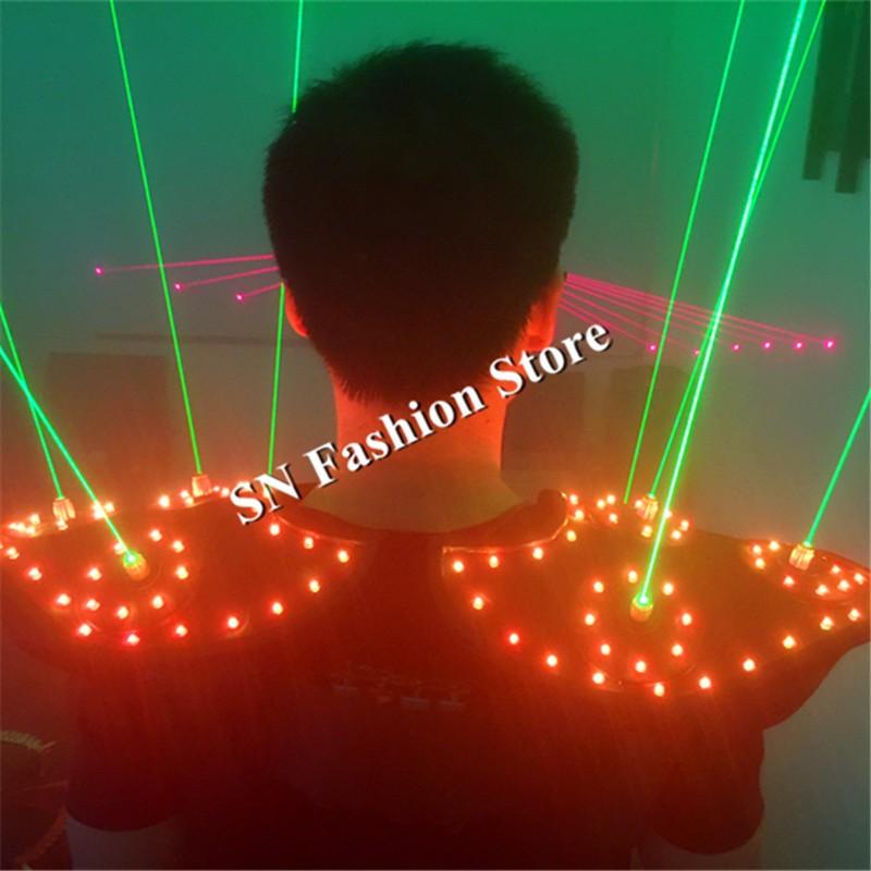 T16 Colorful light ballroom laser vest dj laser costumes dance wears laser glasses red laser suit led clothes shoulder led vest 13