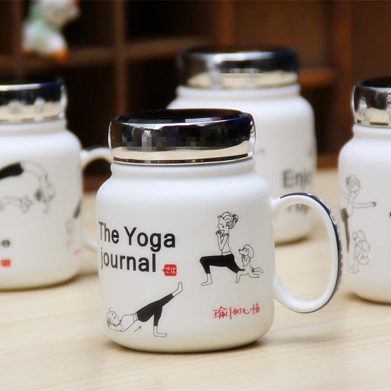 Creative Style Yoga Coffee Mug with Lid 3