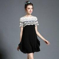 Lace Trim Frilled Summer Dress Women Short Sleeve Dresses Black 5xl RU 54 US 20