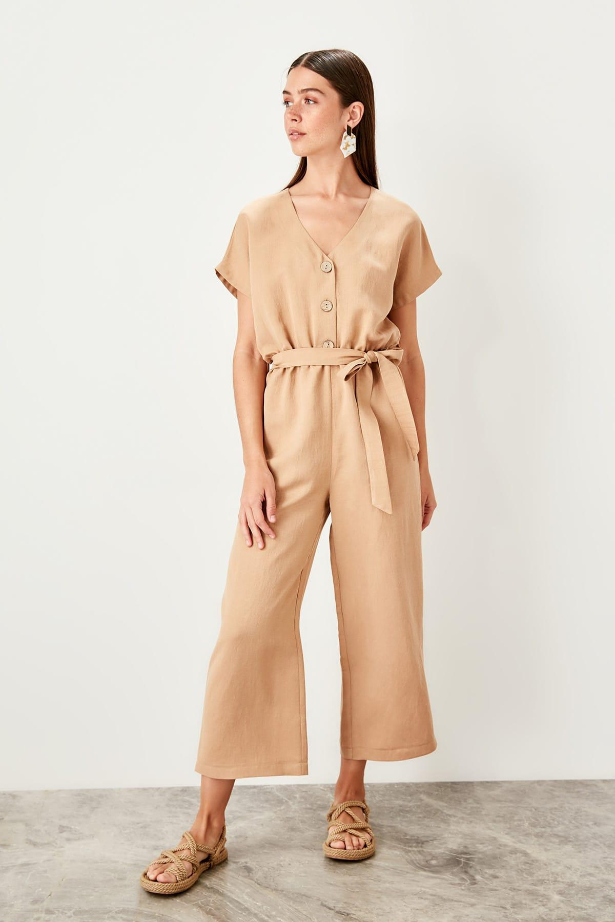 Trendyol Stone Button Jumpsuit TWOSS19TU0011